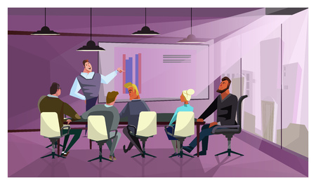 Business people discussing company finances vector illustration. Manager presenting report to colleagues in meeting room. Annual report concept