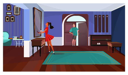 Lady standing in front of mirror in corridor vector illustration. Man waiting for girlfriend at open door. Couple concept