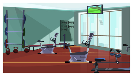 Modern health club with spinning equipment vector illustration. Gym with fitness equipment and weights, television set hanging on ceiling. Body conscious concept