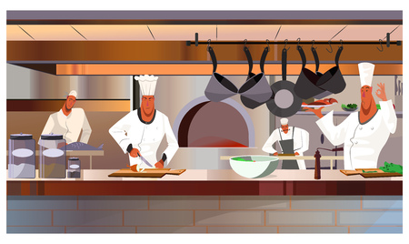 Cooks working at restaurant kitchen vector illustration. Busy chefs in uniform cooking dishes. Restaurant staff concept Çizim