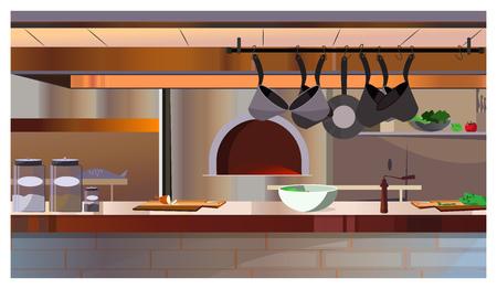 Restaurantküche mit Backofen und Thekenvektorillustration. Moderner Arbeitsplatz mit hängenden Kochtöpfen und Geschirr auf dem Tisch. Innenraumkonzept