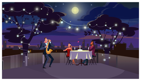 Couple at romantic dinner vector illustration. Lovers sitting at table and listening to saxophone player. Romantic date on roof concept