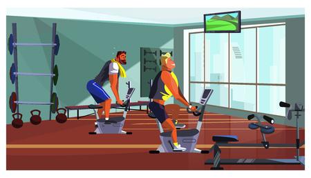 Athletic men training on fitness equipment vector illustration. Sporty guys spinning on bike in gym. Lifestyle concept Иллюстрация