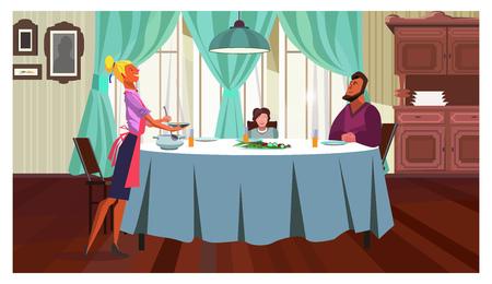 Familie mit Abendessen zu Hause Vektor-Illustration. Fröhliches Familientreffen an einem Tisch, Mutter gießt Suppe im Speisesaal. Esskonzept Vektorgrafik