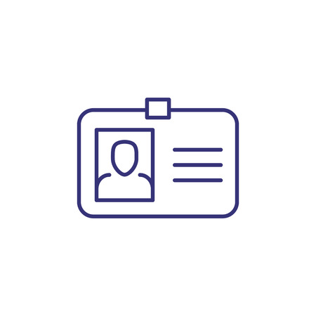 Id card line icon. Photo, clasp, badge. Identity concept. Can be used for topics like business id, verification, license, document