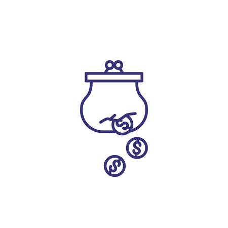 Money loss line icon. Dollar coins falling from purse. Finance management concept. Can be used for topics like business, failure coast