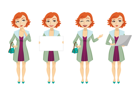Fashionable redhead woman in purple dress character set with different poses, emotions, gestures. Part of banner, bag, laptop. Can be used for topics like businesswoman, confidence, entrepreneur
