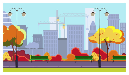 Autumn city park with trees, bushes, benches, lanterns and skyscrapers in background. Cityscape, recreation area. Flat style vector illustration. For brochures, wallpapers, posters or banners.