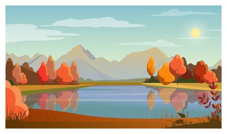 Paesaggio con lago, alberi, sole e montagne sullo sfondo. Natura, concetto di autunno. Illustrazione vettoriale stile piatto. Per volantini, brochure, sfondi, poster o striscioni.