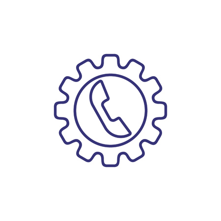 Call management line icon. Telephone inside cogwheel. Communication concept.