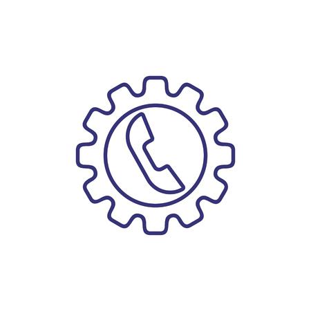Call management line icon. Telephone inside cogwheel. Communication concept.