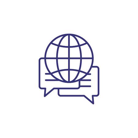 Global forum line icon. World, planet, speech bubble. Communication concept. Vecteurs