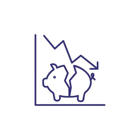 Crisis line icon. Decline graph and broken piggy bank. Loss concept Çizim