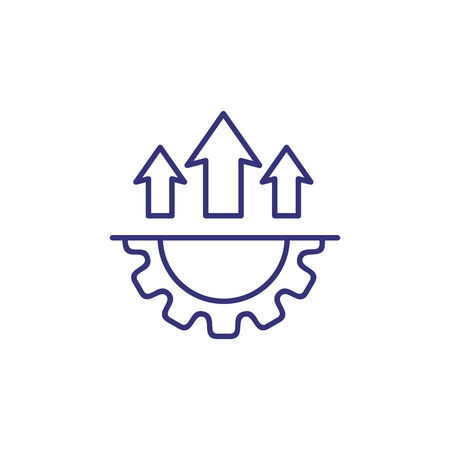 Development perspective line icon. Cogwheel and arrows up. Growth concept.
