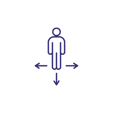 Choice line icon. Person choosing different directions. Decision making concept.