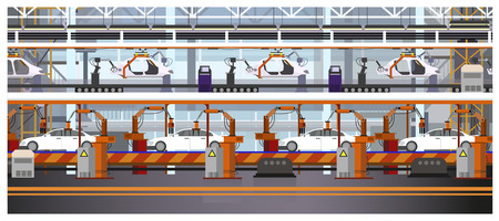 Car assembly line vector illustration. Automated automobile production. Automobile industry concept. For websites, wallpapers, posters or banners. Illustration