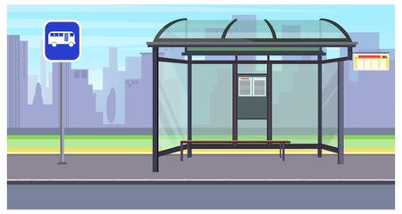 Cityscape with empty bus stop and sign vector illustration. Buildings silhouettes in background. Transportation concept. For websites, wallpapers, posters or banners.