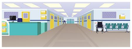 Hall d'hôpital avec réception, portes dans le couloir et chaises illustration vectorielle. Intérieur de la clinique. Notion d'hôpital. Pour sites Web, fonds d'écran, affiches ou bannières. Vecteurs