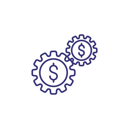 Fund work line icon. Capital, dollar signs in gears. Finance management concept