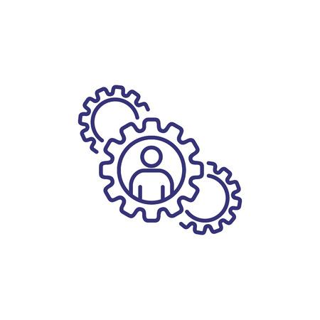 Icona della linea di lavoro. Dipendente, ingranaggio, meccanismo. Concetto di risorsa umana.