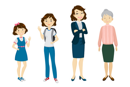 Female of various age character set with different gestures, poses, actions. Child, schoolgirl, adult woman, senior. Can be used for childhood, old age, life cycle