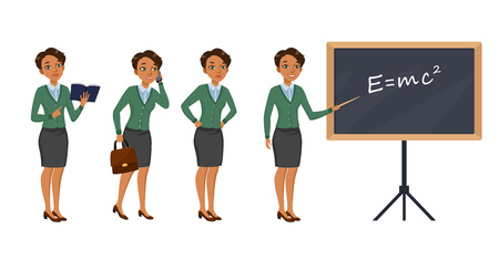 Female teacher character set with different poses, emotions, actions. Textbook, phone call, testing, teaching lesson. Can be used for school, education, physics