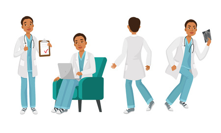 Male doctor character set with different poses, emotions, actions. Medical note, working with computer, back view, radiography. Can be used for hospital, intern, physician