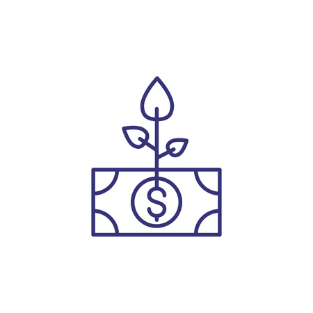 Money tree line icon. Root, dollar banknote, growth. Finance concept.