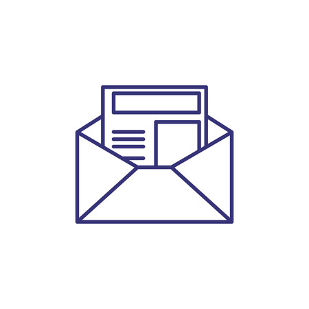 Newsletter line icon. Letter in open envelope. Communication concept.