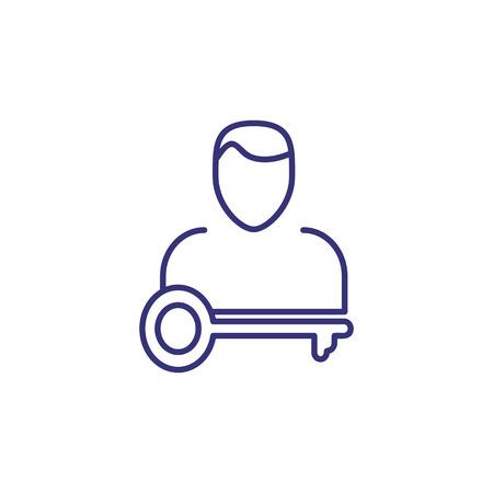 Schlüsselpersonenzeilensymbol. Geschäftsmann, Führer, Administrator. Führungskonzept. Vektorgrafik