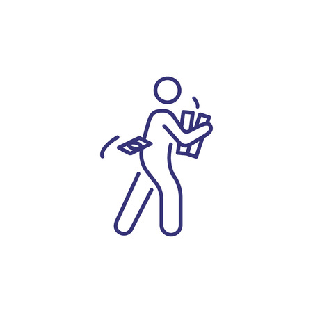 Man carrying money line icon. Walking male character holding box with dollar banknotes. Money making concept.