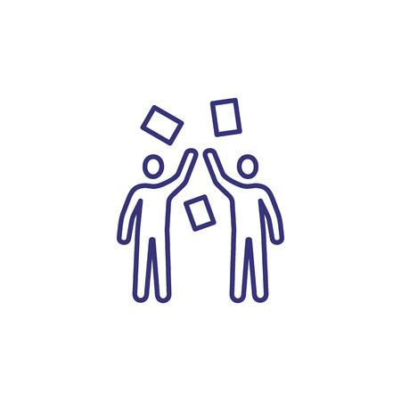 Shareholders line icon. Men throwing papers. Stock concept. Foto de archivo - 107112495