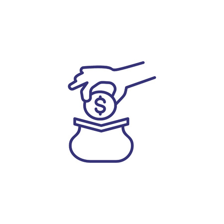 Small cash purse line icon. Hand putting dollar coin into wallet. Finance concept