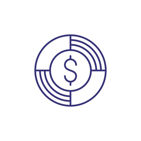 Money help line icon. Ring, buoy, dollar sign. Financial assistance concept.