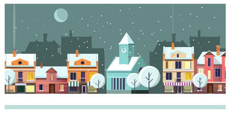Winter night townscape with houses and moon vector illustration. Night town scene. Night townscape concept. For websites, wallpapers, posters or banners. 矢量图像
