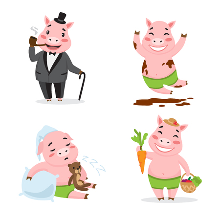 Cute pig enjoying different actions. Cartoon character set. Smoking pipe, rolling in mud, sleeping, harvesting Vector illustration can be used for kindergarten, elementary school education