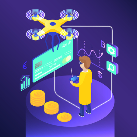Isometric credit card delivery. Drone pilot, stacks of coins, currency rate. Banking concept. Infographic isometric vector illustration on violet background