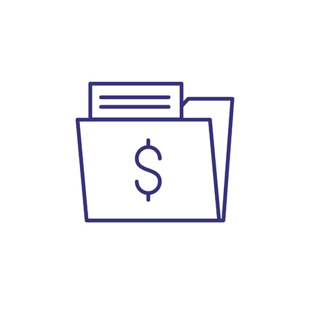 Profitable contract line icon. Paper in folder with dollar sign. Business concept.