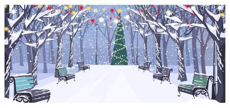Gehweg im Winterstadtpark mit Bänken und verzierter Tannenbaumvektorillustration. Stadtbild, Erholungsgebiet. Heiligabend-Konzept. Für Websites, Hintergrundbilder, Poster oder Banner. Vektorgrafik