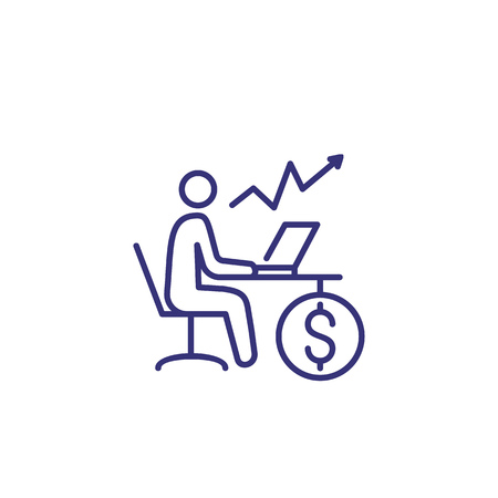 Financial trading line icon. Man at desk with computer, growth chart and dollar coin. Finance management concept.