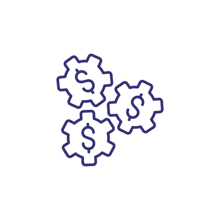 dollar sign gear industry line icon. Dollar signs inside gears. Financial technology concept. Çizim
