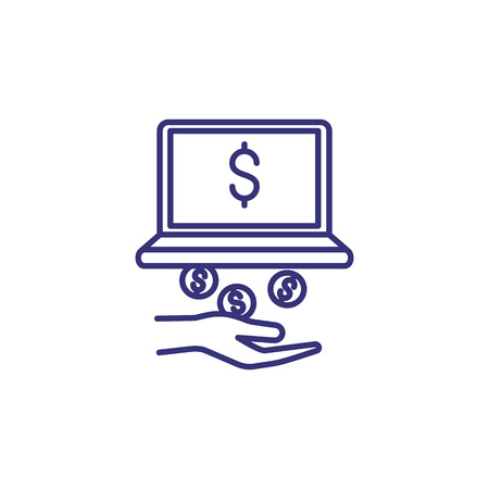 Online income line icon. Dollar coins falling from computer to hand. Financial success concept