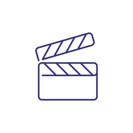 Clapboard line icon. Clapper, board, action. Cinema concept. Can be used for topics like filming, camera recording, movie production