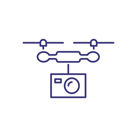 Drone line icon. Camera, flight, helicopter. Filming concept. Can be used for topics like recording, movie production, shooting