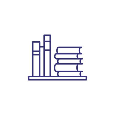 Icône de ligne de bibliothèque. Livres, pile, étagère. Concept d'éducation. Peut être utilisé pour des sujets tels que l'étude, la connaissance, la librairie, la littérature