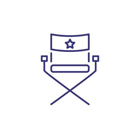 Icône de ligne de chaise de célébrité. Fauteuil avec étoile. Concept de réalisation de films. Peut être utilisé pour des sujets tels que le tournage, la production de films, le cinéma, le studio