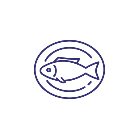 Cooked fish on plate line icon. Roast fish, dinner, seafood. Restaurant concept. Vector illustration can be used for topics like food, cooking, menu