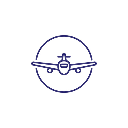 Airplane line icon. Circle, wing, transport. Travel concept. Vector illustration can be used for topics like flight, vacation, aviation  イラスト・ベクター素材