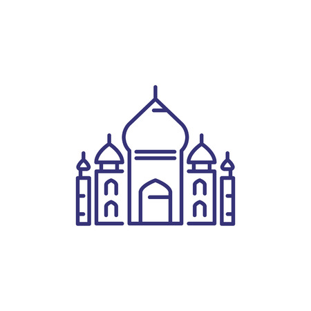 Taj Mahal line icon. Building, landmark, temple. Architecture concept. Vector illustration can be used for topics like religion, India, traveling