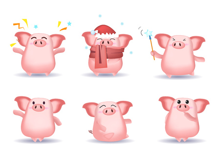 Funny cute pig character set with different poses, emotions, gestures. Parts of santa hat, scarf, snow, magic stick. Can be used for topics like Christmas, sorcery, cartoon
